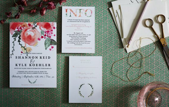 Elegant Floral Watercolor Wedding Invitation by Honeyhuepaperco
