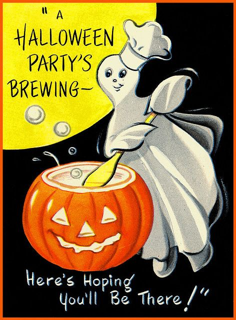 "Vintage Halloween Invitation ~ ""A Halloween Party's Brewing~""Here's Hoping You'll Be There!"" Party Invitation"