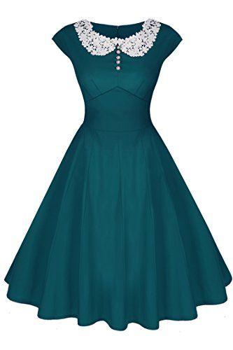 ACEVOG Damen Sommerkleid Rockabilly Party Cocktailkleider mit Spitzen 1950er Retro Vintage Abendkleider Stretch Knielang Dunkelgrün Gr.40 ACEVOG http://www.amazon.de/dp/B015OFIS9A/ref=cm_sw_r_pi_dp_W8u2wb0NVWMY9