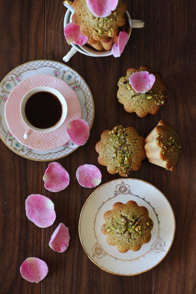 pistachio, saffron + rose financiers