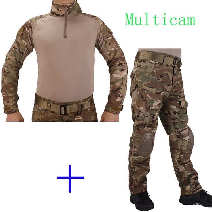 59.42$  Watch here - http://ali6z2.worldwells.pw/go.php?t=32751292139 - Hunting Camouflage BDU Multicam Combat uniform shirt met Broek en Elbow&KneePads militaire cosplay uniform ghilliekostuum jacht