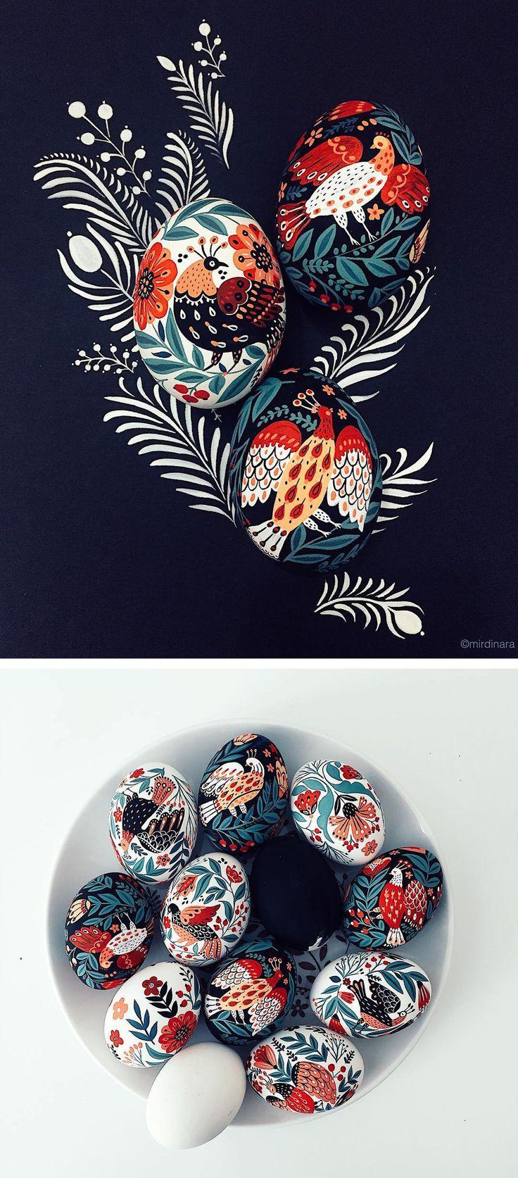 painted eggs by Dinara Mirtalipova | egg painting | Easter eggs | folk illustration