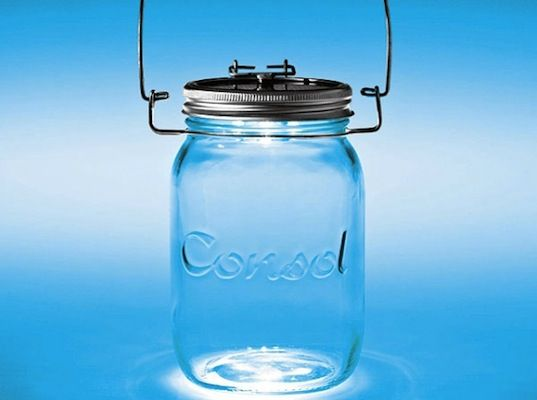 A clever solar panel fitted onto the jar's lid absorbs solar energy during the day and when the sun goes down, the little LED light inside the jar is ready to be switched on.