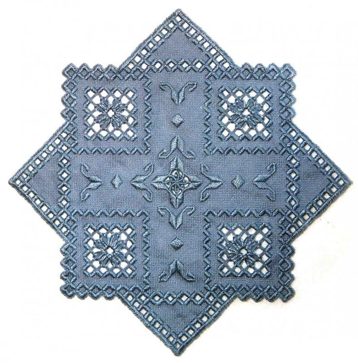 Blue hardanger piece. Very pretty!