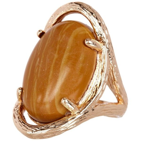 METAL AND STONE Cabochon Oval Brown Stone Textured Ring - Size 8 ($20) ❤ liked on Polyvore featuring jewelry, rings, no color, oval ring, stone jewellery, texturing metal jewelry, metal jewellery and metal jewelry