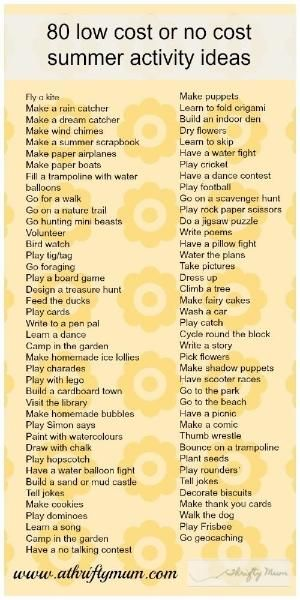 Good babysitting ideas: 80 no cost or low cost summer activities by tkia by amberjane123