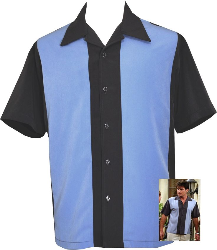 Mens Charcoal Blue Two Panel Button Down Retro Bowling Shirt
