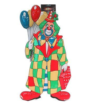 Clown decoratie met ballonnen. Deze leuke clowen wanddecoratie met ballonnen is ongeveer 60 cm. Versier uw feest met deze clown met ballonnen decoratie.