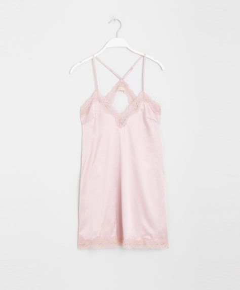 Camisa de noite cetim com renda - OYSHO