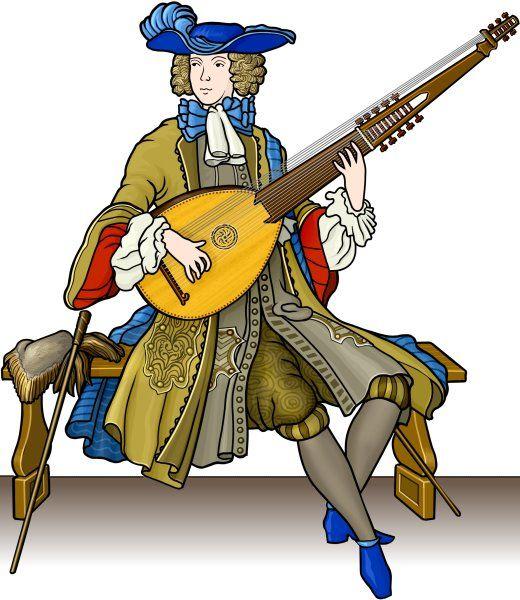 angelique player 楽器のイラスト アンジェリクを演奏する人。エンジェルリュート。 ヨーロッパの楽器。