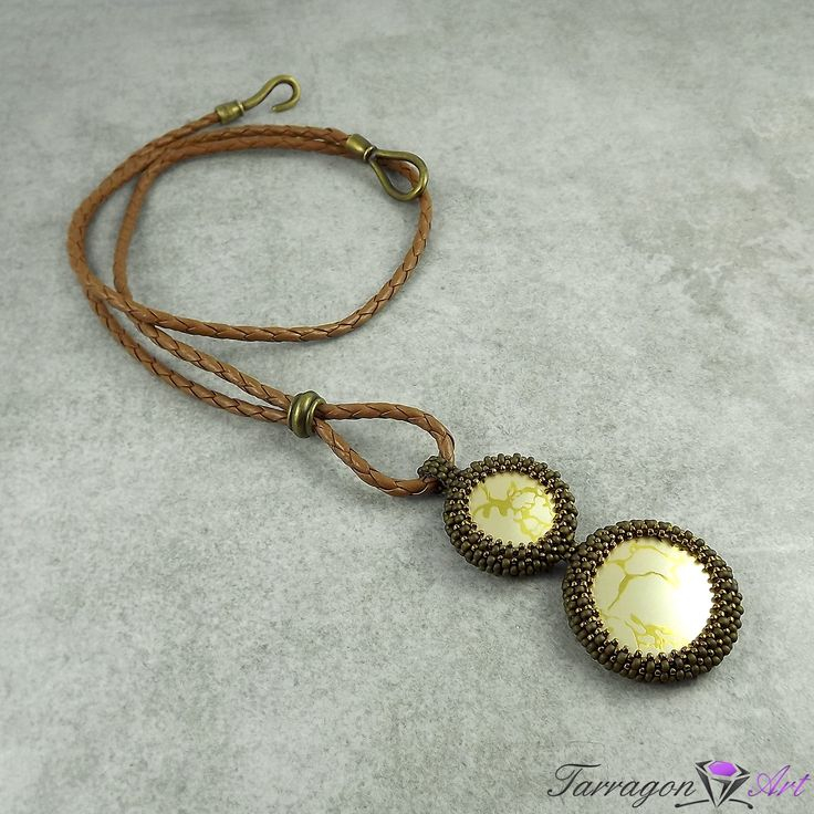 #handmade #beading #toho Wisior Beaded - Bronze with Antique Gold od Tarragon Art