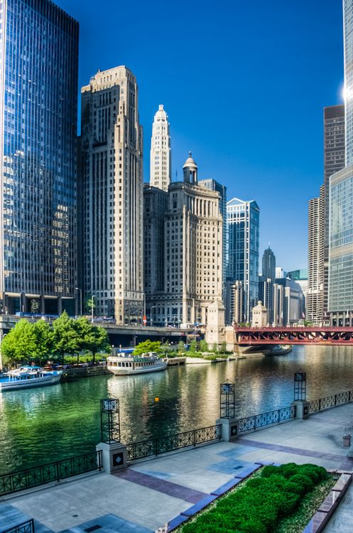 Chicago River and Chicago's First Lady Cruises dock. Beautiful and architecturally significant location to start the popular CAF River Cruise!