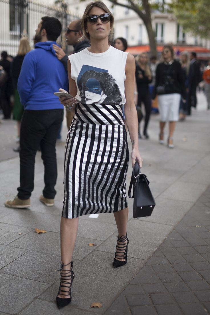 Metallics, stripes and lace-ups seen in Paris.