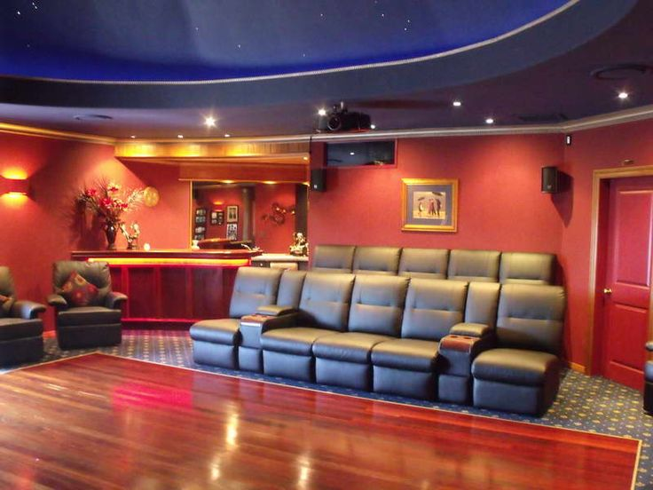 Wonderful Home Movie Room Ideas With Red Walls Appealing Movie Theater Room Ideas