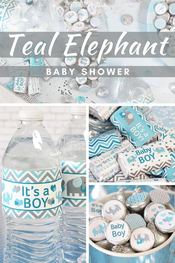 Teal Elephant Baby Shower Ideas Elephant Baby Shower Boy Boy Baby Shower Centerpieces Baby Boy Shower Favors