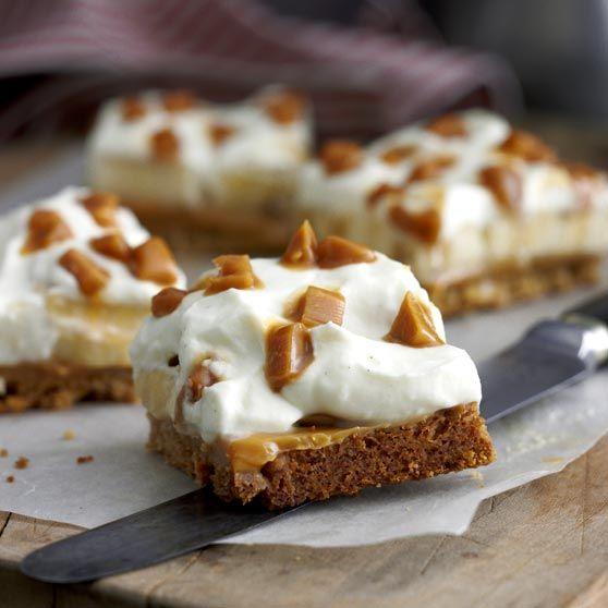 Banan-karamelkage -http://www.dansukker.dk/dk/opskrifter/banan-karamelkage.aspx #dansukker #opskrift #lækkert #banan #karamel #spis #kage #lækkert #snack
