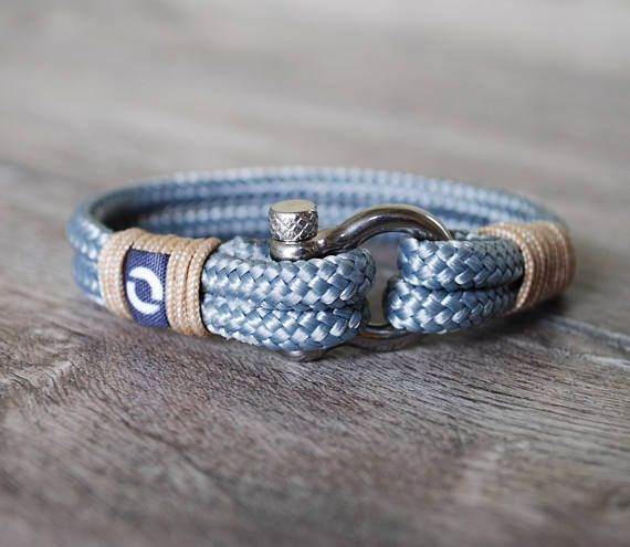 Gray Mens Bracelet Grey Mens Bracelet Nautical Bracelet