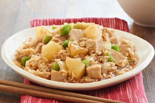 Slow-Cooker Sweet & Sour Pork recipe--15 min prep in morning, cook in crock pot and you have tasty Asian dish for later...uses boneless pork loin pieces, onion, chicken broth, BBq sauce, pineapple chunks, green pepper , instant rice.