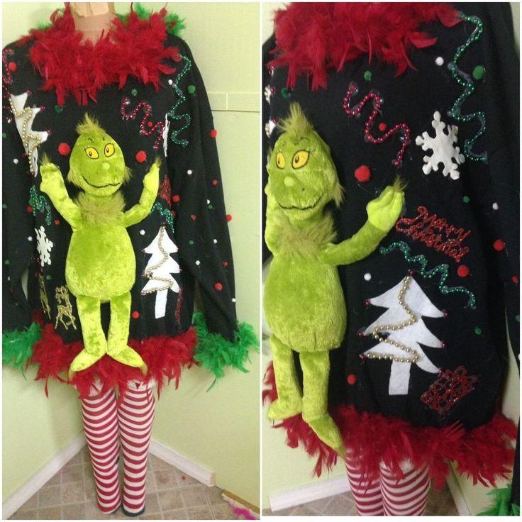 Ugly Tacky Sexy Grinch Christmas Sweater Sweatshirt 4XL #FrontOfLoom #CrewNeck