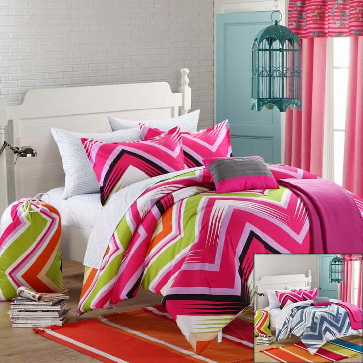 Chic Home Ziggy Zag 10-Piece Comforter Set Full Size Fuchsia, Shams Decorative Pillows and Sheet Set Included. #Backtoschool #LuxBed #Bedding