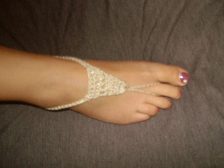 Beach sandals my mum knit :)
