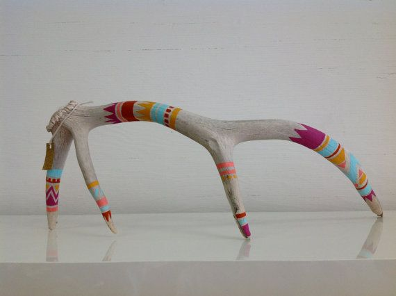 Hand Painted Antler  Topanga by LANOaMANO on Etsy, $108.00