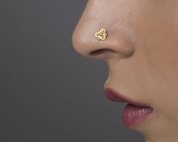 Nose Pin Tribal Nose Screw Bohemian Sun Ethnic Nostril Pin Gold Nose Screw Rose Gold Nose Screw Indian Nose Stud Nose Stud 14k Gold