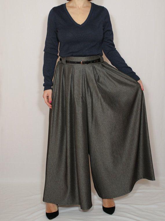 Black Palazzo pants Melange pants Wide leg pant skirt by dresslike