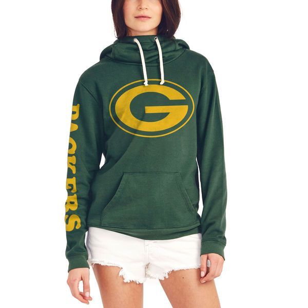 Women's Green Bay Packers Junk Food Green Sunday Funnel Neck Pullover Hoodie