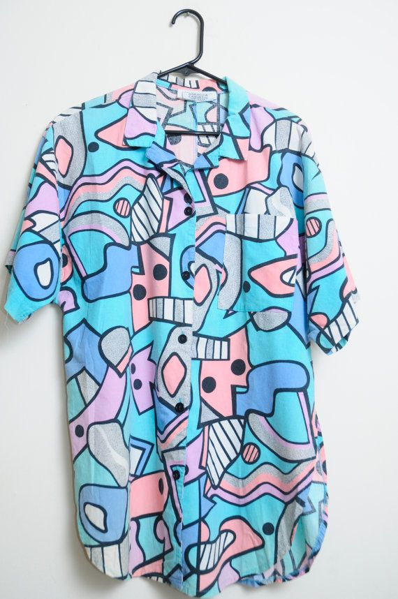 Vintage 80s/90s Art Deco Abstract Print Pastel Amazing Button Up Short Sleeve Shirt Unisex