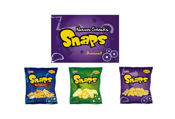 Propuesta de logotipo y empaque de sus 3 presentaciones para el relanzamiento de la marca SNAPS.