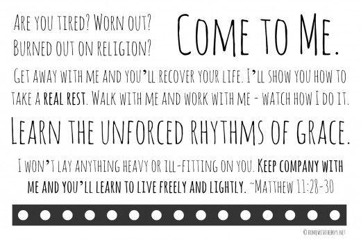 Take a Real Rest: Matthew 11:28-30 Free Printable