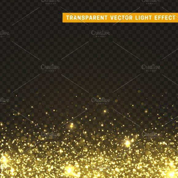 Gold glitter particles, shining star #light #effect