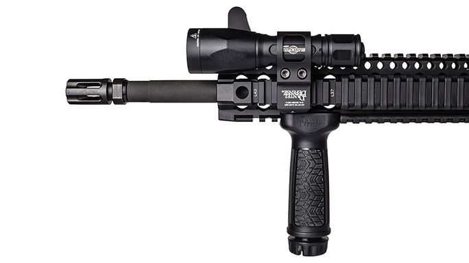 Tactical Lighting: Daniel Defense's Offset Flashlight Mount   Offset Flashlight Mount from Daniel Defense is designed so the shooter's thumb has quick and perfect access to the rear button of the flashlight.