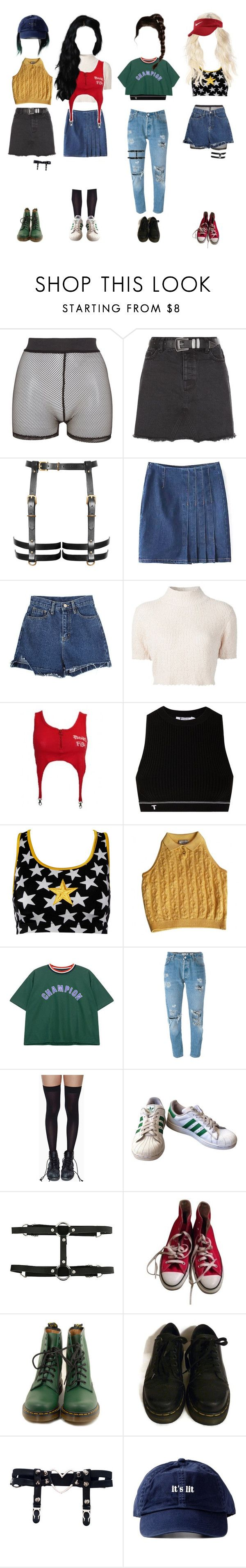 """Music Bank: goodbye stage ∴ River City"" by outline-official ❤ liked on Polyvore featuring Bitching & Junkfood, New Look, Rachel Comey, T By Alexander Wang, Norma Kamali, Versace, Chicnova Fashion, Levi's, Leg Avenue and adidas"