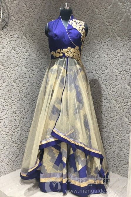 http://www.mangaldeep.co.in/lehengas/enticing-royal-blue-peach-and-beige-readymade-designer-partywear-indowestern-suit-8081 For more information :- Call us @ +919377222211 (Whatsapp Available)
