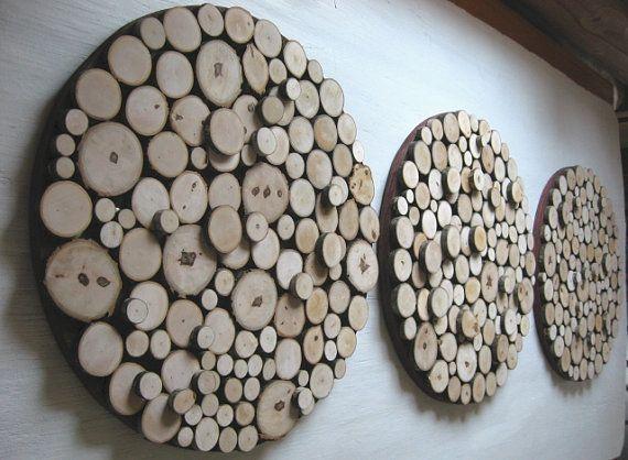 Tranche de bois mur Sculpture bois Wall Art par RusticModernDesigns
