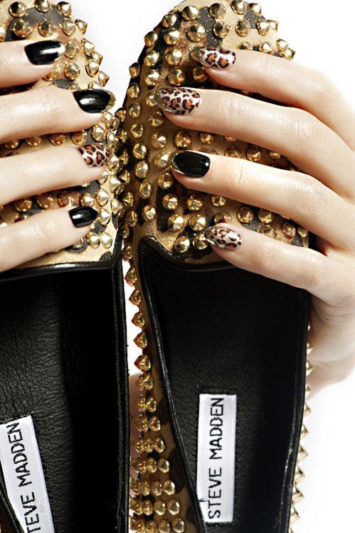 black n gold leopard nails inspired by Steve Madden gold leopard studded flats