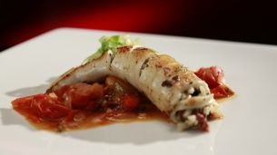 Mediterranean Stuffed Squid with Roasted Tomato Salsa - My Kitchen Rules 2014