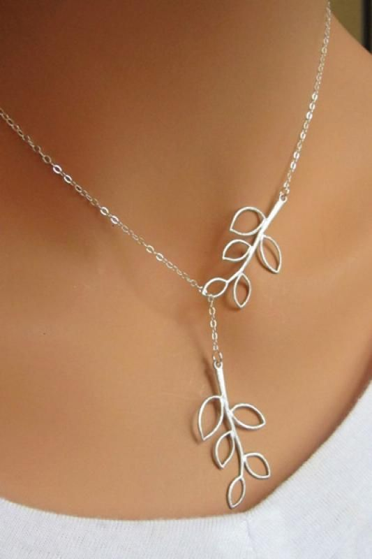 This Necklace is SO PRETTY! Love the Leaves! Love the way it is put together! Delicate Silver Metal Chain Leaf Shaped Necklace