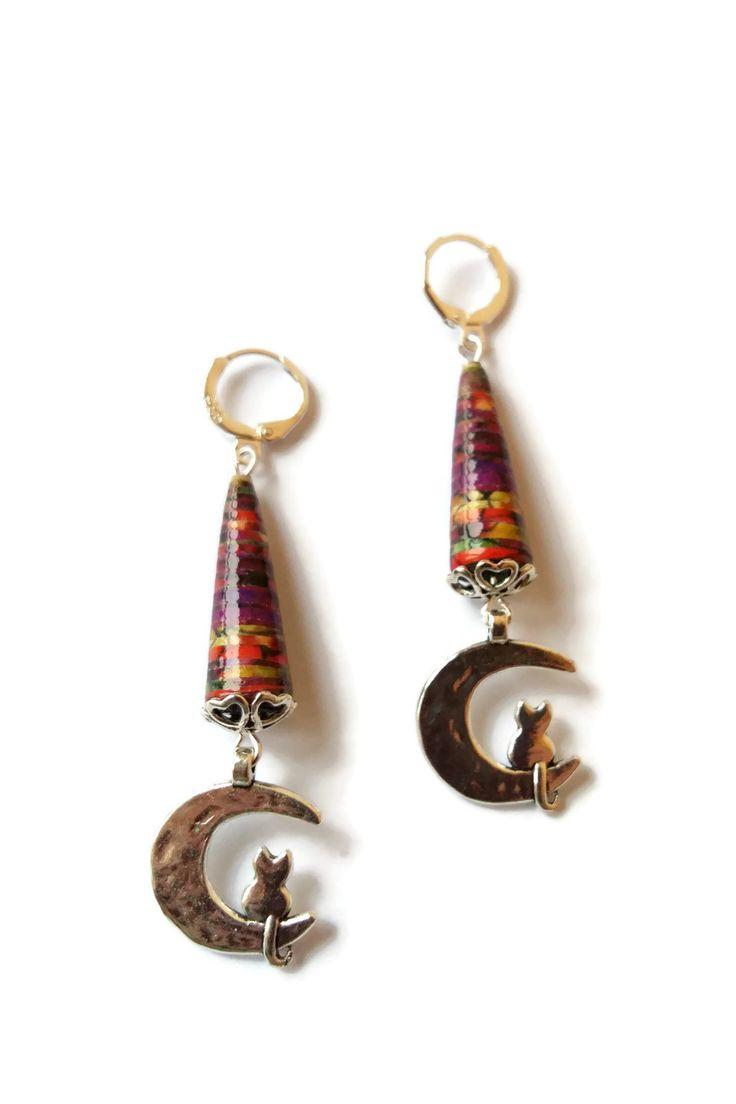 Boucles d'Oreilles Romantiques Chats Lunes - Argentées - Perles en Papier Multicolores : Boucles d'oreille par cap-and-pap