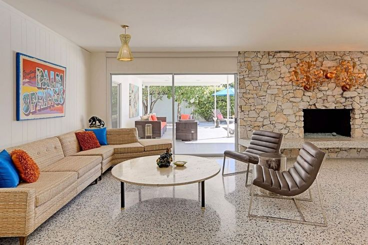 Swinging Palm Springs midcentury with pool and outdoor fire pit asks $998K  #terrazzo #home #interiordesign #realestate