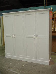 White Painted Large 4 door Solid Pine Shaker Style Shabby Chic Wardrobe NEW!!! | eBay