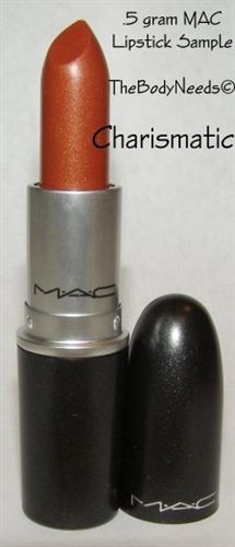 MAC Lipstick in Charismatic. Burnt orange with a little shimmer. Perfect replacement for my favorite estee lauder lipstick, crystal sun, which was discontinued. Love it!