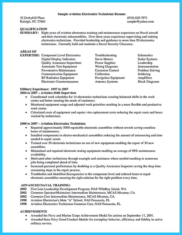 Avionics Technician Resume Engineering Technician Resume Cover - electronic repair technician resume