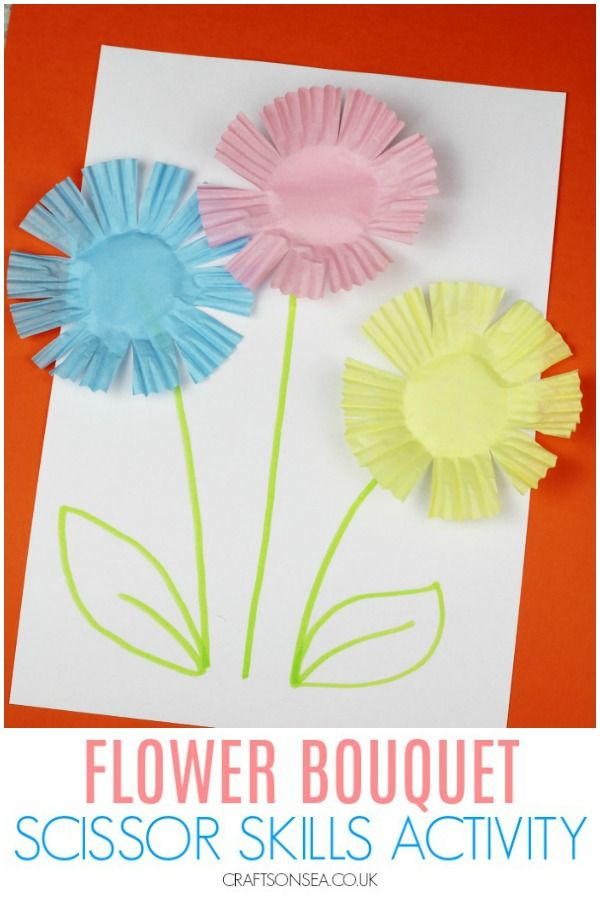 Easy Flower Scissor Skills Activity Preschool Arts And Crafts