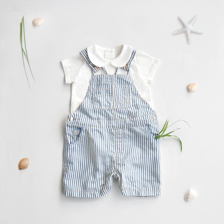 Baby striped overalls