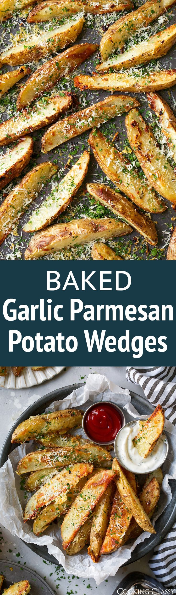 Baked Garlic Parmesan Potato Wedges - my family LOVES these! Perfect side to just about anything.