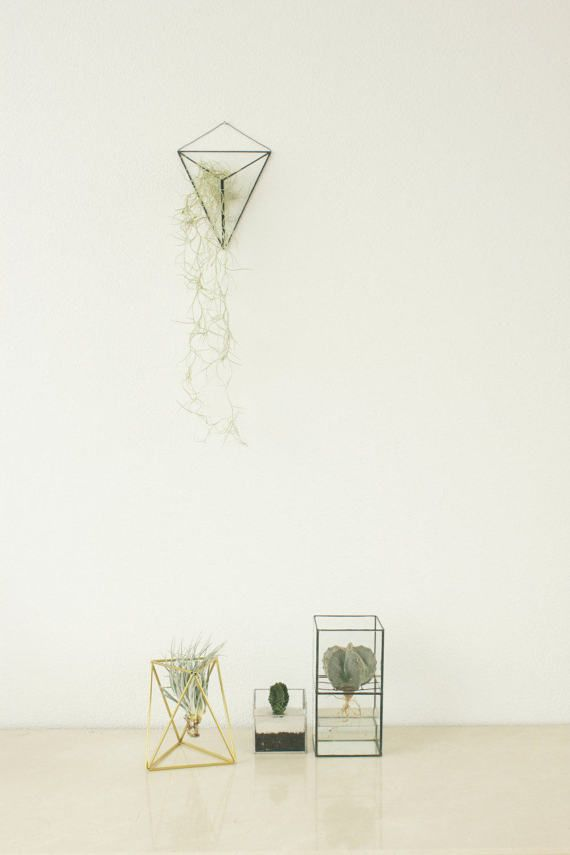 Geometric glass terrarium Indoor wall planter van KESKOS op Etsy