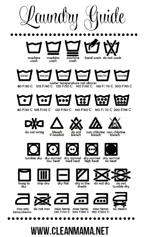 Wondering what all those symbols mean on your clothes? Print out this freebie and keep it in your laundry room to know how to launder everything! Free Printable Laundry Guide via Clean Mama